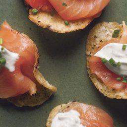 Smoked Salmon with Black Pepper Potato Chips and Lemon Creme Fraiche