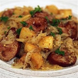 Smoked Sausage with Potatoes & Sauerkraut