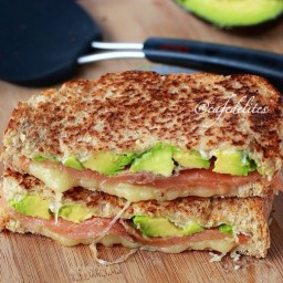 Smoked Salmon  and  Avocado Grilled Cheese Stack!