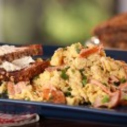 Smoked Salmon and Scallion Scramble with Whole Grain Toast with Goat Cheese