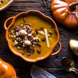 Smoky Pumpkin Beer and Cheddar Potato Soup with Candied Bacon Popcorn.