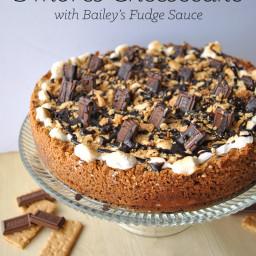 S'Mores Cheesecake with Bailey's Irish Cream Hot Fudge