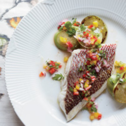 Snapper with Charred Tomatillos and Pepper Salsa