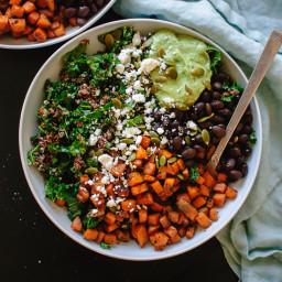 Southwestern Kale Power Salad with Sweet Potato, Quinoa and Avocado Sauce