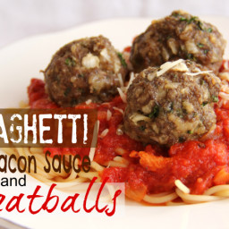 Spaghetti with Bacon Sauce and Meatballs