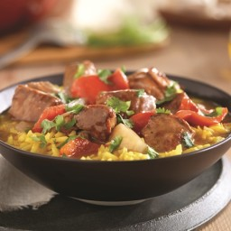 Spanish Pork Stew with Saffron Rice