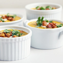 Spiced Carrot Soup With Crispy Chickpeas and Tahini
