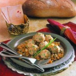 Spiced Chicken Meatballs in Split Pea Pilaf