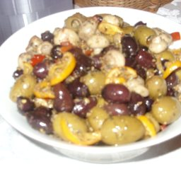 Spiced Marinated Olives and Mushrooms