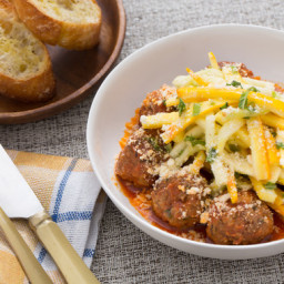 Spiced Meatballswith Garlic Toasts and Summer Squash Salad