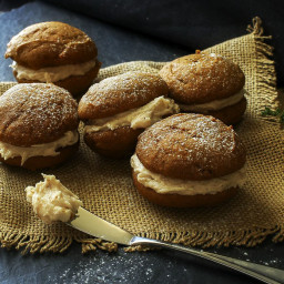 Spiced Pumpkin Whoopie Pies with Browned Butter Maple Cinnamon Frosting