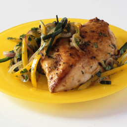 Spiced Chicken Breasts with Poblano and Bell Pepper Rajas