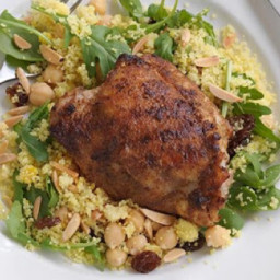 Spiced chicken thighs with yellow couscous