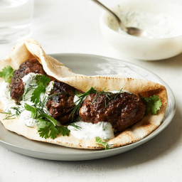 Spiced Middle Eastern Lamb Patties with Pita and Yogurt