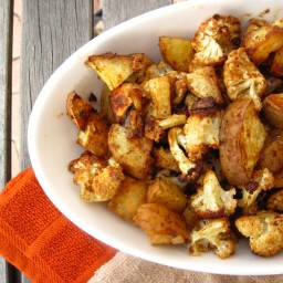 Spicy Baked Cauliflower and Sweet Potatoes