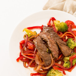 Spicy Beef and Broccoli Stir Fry with Spiralized Peppers and Onions