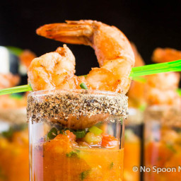 Spicy Bloody Mary Gazpacho and Shrimp Shooters