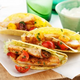 Spicy fish tacos with fresh tomato salsa
