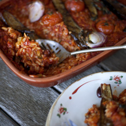 Spicy Grilled Eggplant Risoni Bake