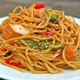 Spicy Hoisin-Glazed Salmon Spaghetti