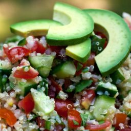 Spicy Quinoa, Cucumber, and Tomato Salad