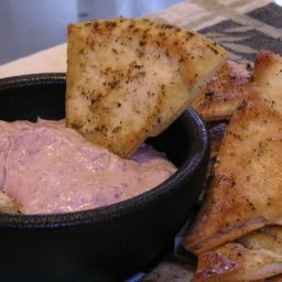 Spicy Red Bean Dip with Baked Pita Wedges