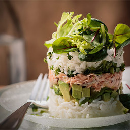 Spicy Salmon & Avocado Tower