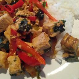 Spicy Stir-Fried Tofu with Basil and Eggplant