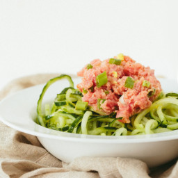 Spicy Tuna Salad with Cucumber Noodles