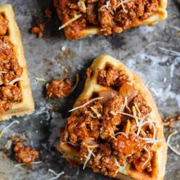 Spicy Turkey Sloppy Joes on Whole Wheat Cornbread Waffles