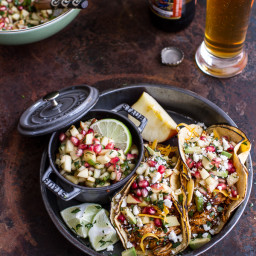 Spicy Cider Beer Braised Chicken Enchilada Tacos w/Sweet Chili Apple-Pomegr