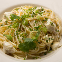 Spicy Crab Linguine with Mustard, Crème Fraîche and Herbs
