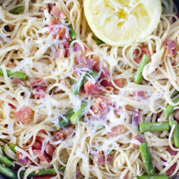 Spicy Lemon, Asparagus and Bacon Pasta
