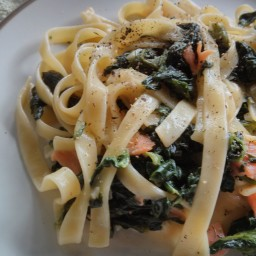 Spinach and Smoked Salmon Fettucine