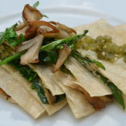 Spinach, Arugula and Maitake Mushroom Quesadillas with Charred Tomatillo Sa