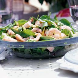 Spinach, avocado and prawn salad
