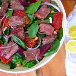 Spinach, Beetroot and Chickpea salad with Flat-Iron Steak