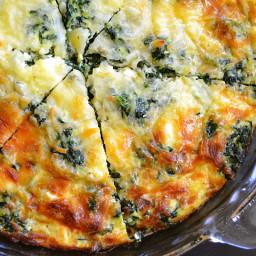 spinach, mushroom and feta crustless quiche