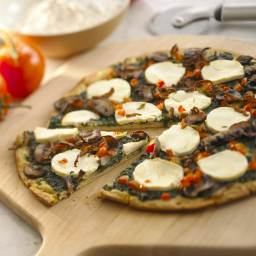 Spinach & Mushroom Pizza with Goat Cheese
