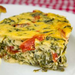 Spinach, Roasted Pepper and Parmesan Pudding/ Crustless Quiche