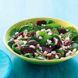 Spinach Salad with Beets, Beans and Feta