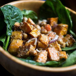 Spinach Salad With Roasted Vegetables and Spiced Chickpeas