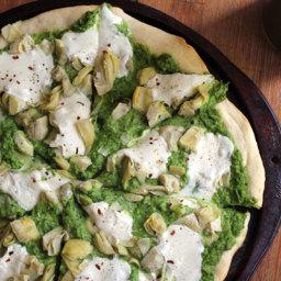 Spring Pizza with Lemony Pea Pesto and Artichoke Hearts