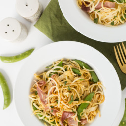 Spring Prosciutto Parsnip Pasta with Snap Peas