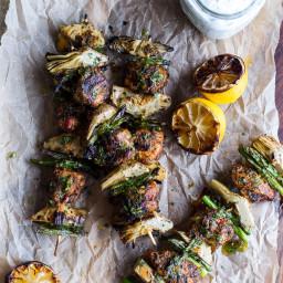 Spring Veggie + Lemon Moroccan Chicken Skewers with Minted Goat Cheese Yogu