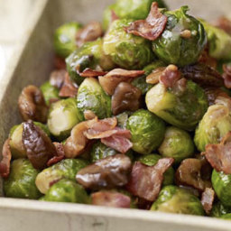 Sprouts with chestnuts and crisp pancetta