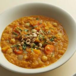 Squash, Chickpea  and  Red Lentil Stew