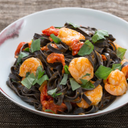 Squid Ink Linguine Pastawith Shrimp and Cherry Tomatoes
