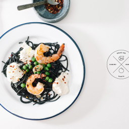 Squid Ink Pasta with Shrimp and Burrata Recipe