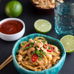Sriracha Lime and Creamy Cashew Fettuccine with Toasted Sesame Seeds